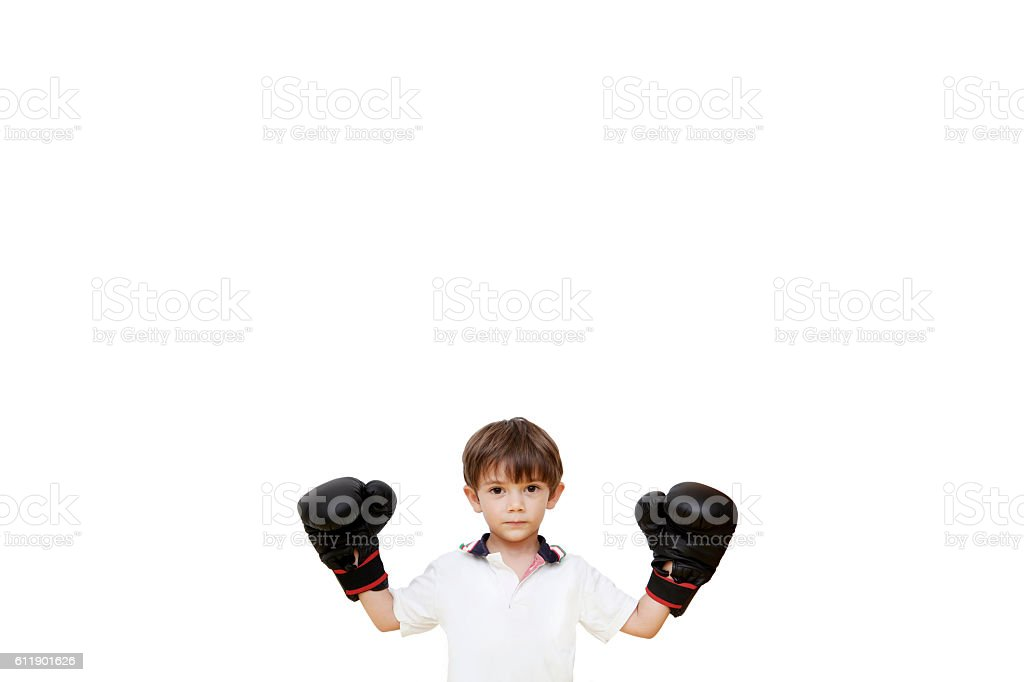 smiling boxing champion boy stock photo