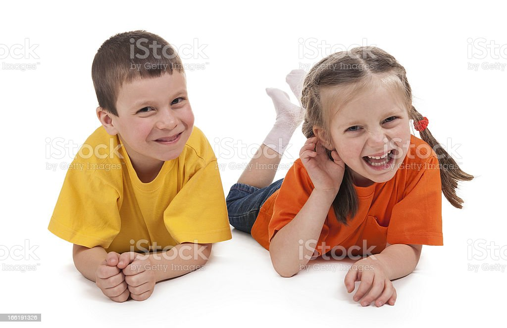 smiling boy and girl royalty-free stock photo