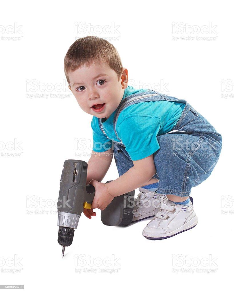 Smiling boy builder royalty-free stock photo