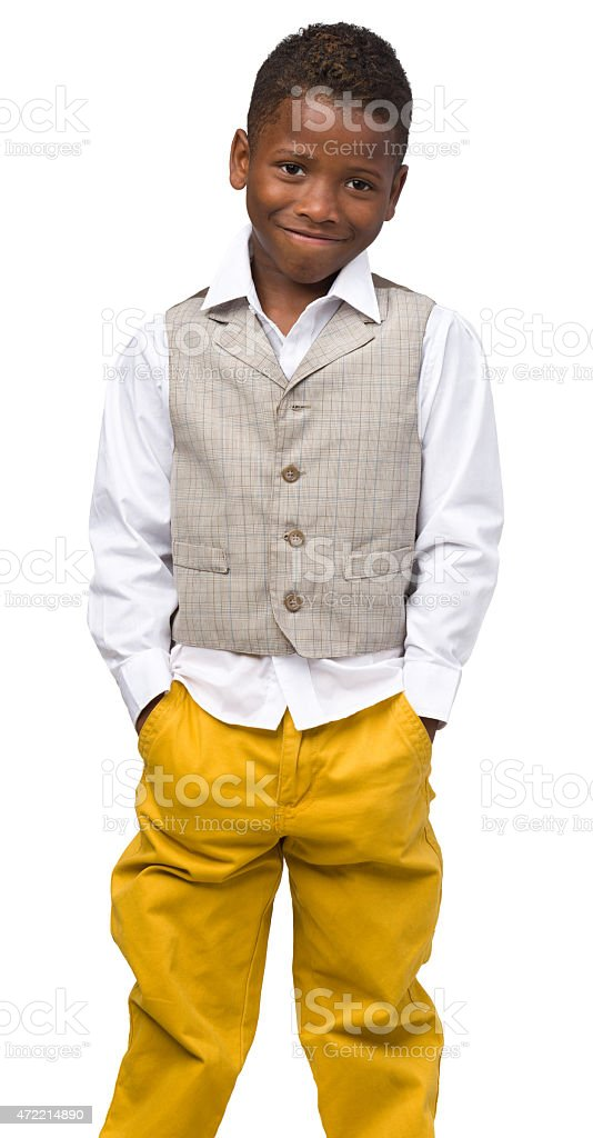Smiling Boy, Full-Length Portrait stock photo