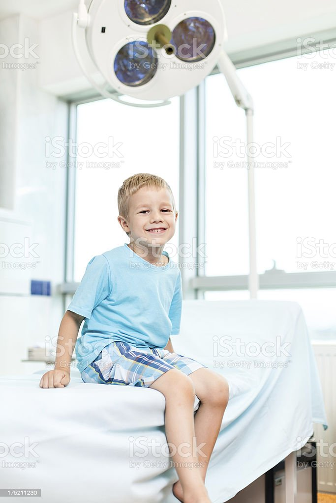 Smiling boy in doctor's office royalty-free stock photo