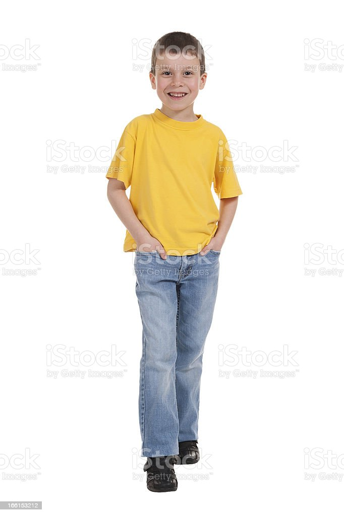 smiling boy in yellow t-shirt royalty-free stock photo