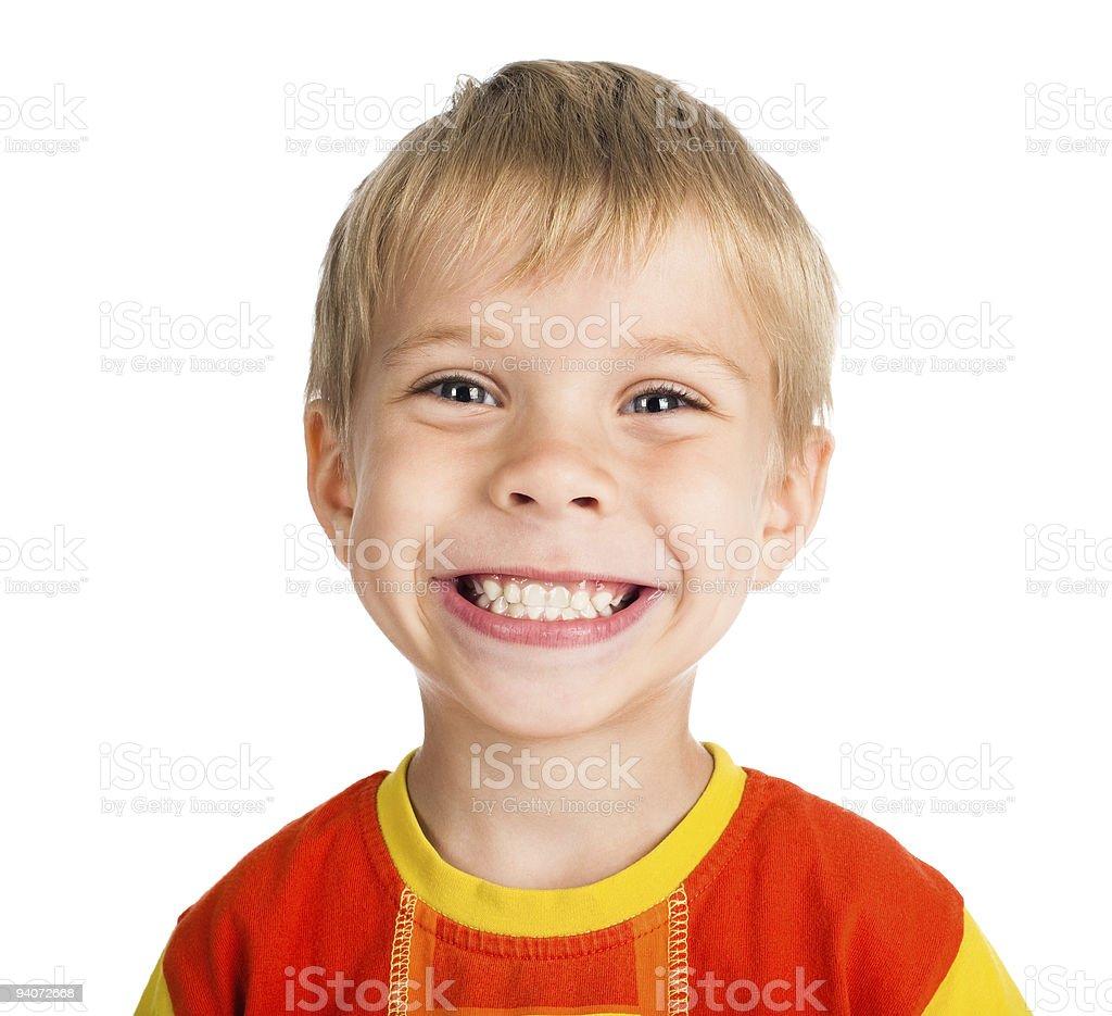 smiling boy on white background stock photo