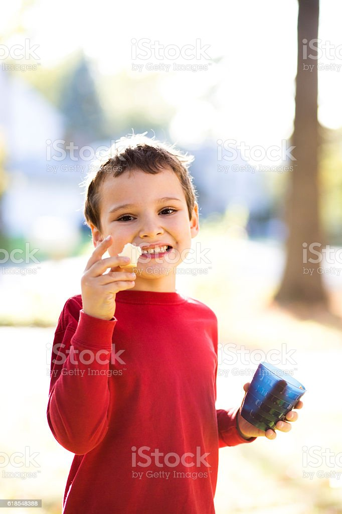 Smiling boy shows healthy cheese snack that he is eating stock photo