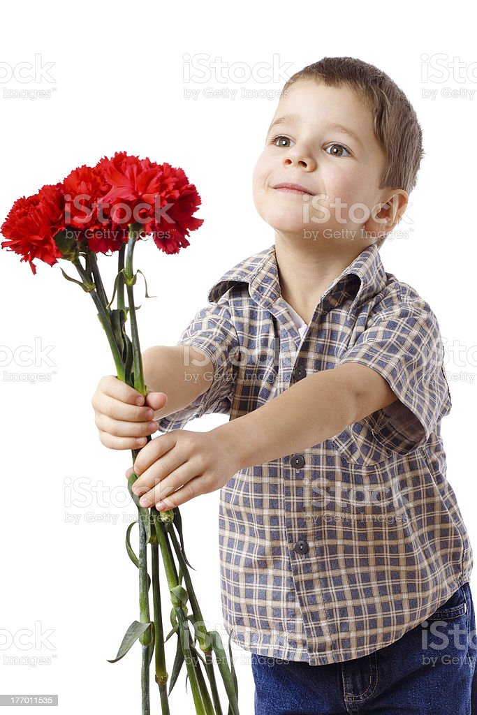 Smiling boy stretches forward a bouquet royalty-free stock photo