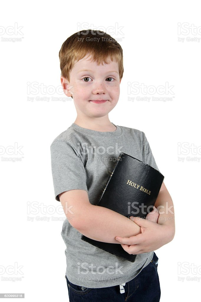 Smiling Boy with Bible stock photo