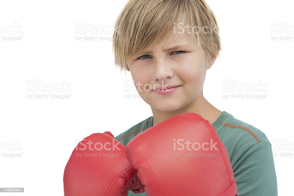 Smiling boy with boxing gloves royalty-free stock photo