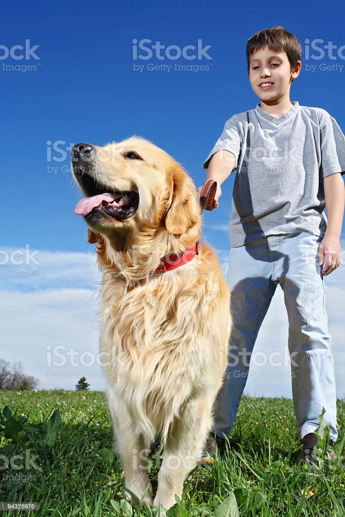 Smiling Boy with dog. royalty-free stock photo