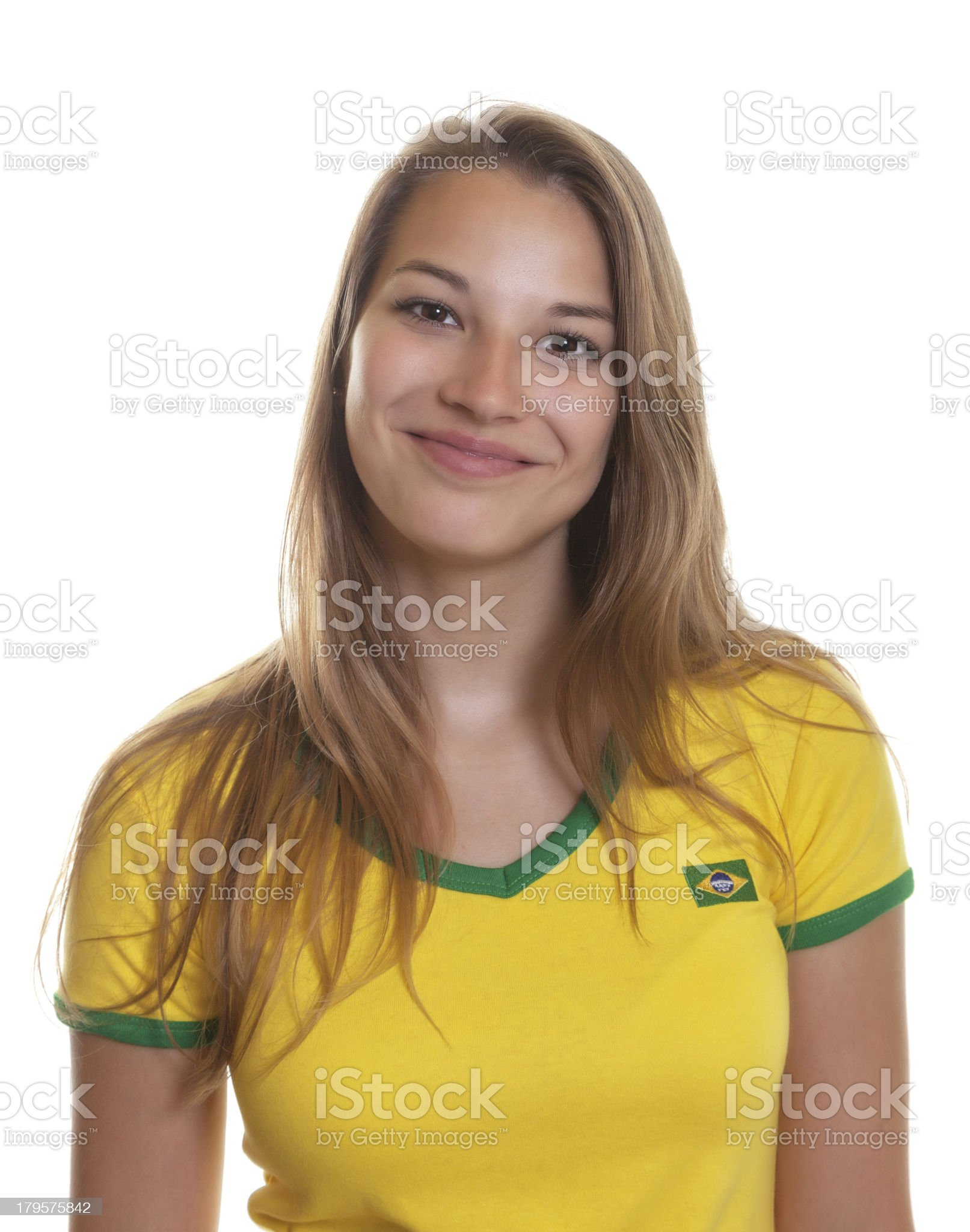 Smiling brazilian soccer supporter royalty-free stock photo