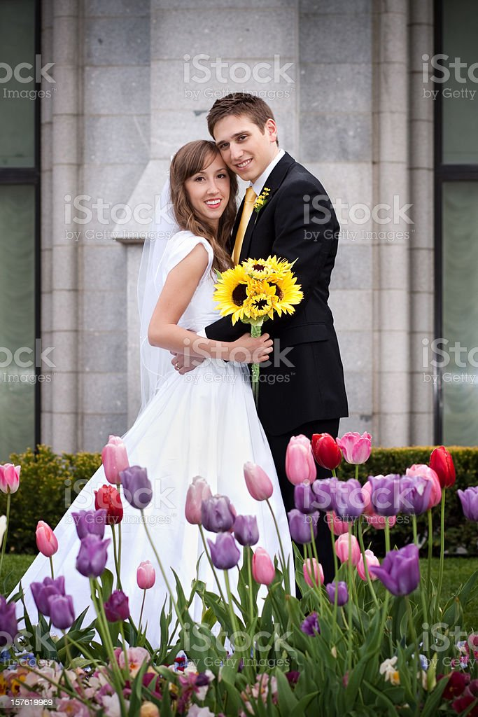 Smiling Bride and Groom Wedding Portrait royalty-free stock photo