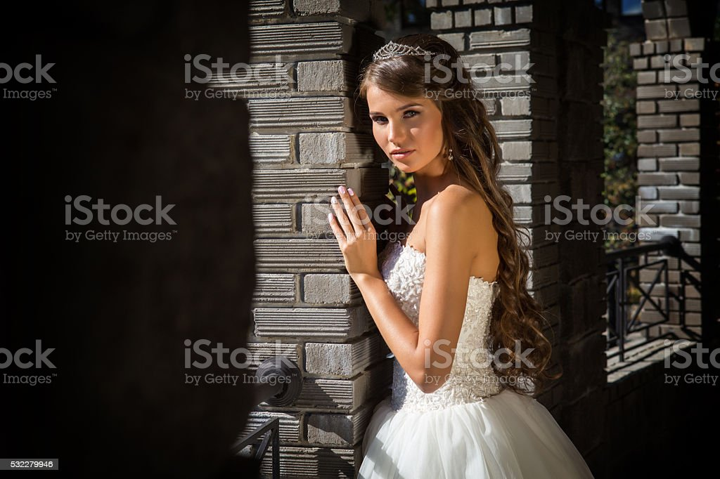 Smiling bride on background of old building with columns, close stock photo