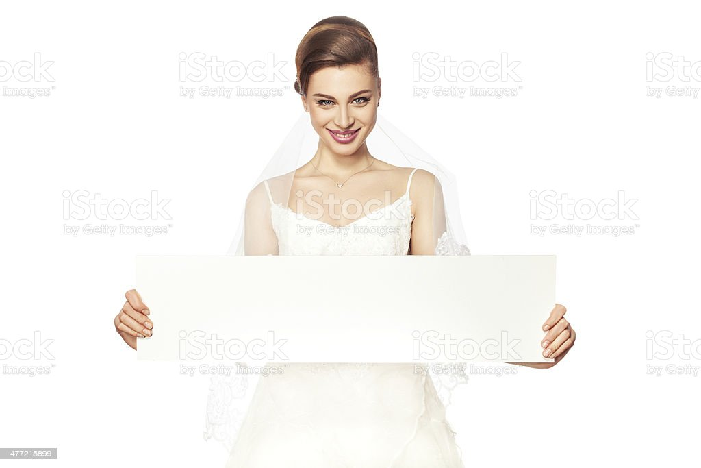 Smiling bride with advertising. stock photo