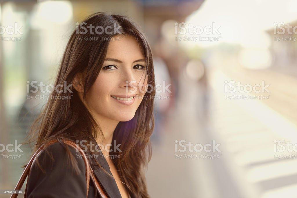 Smiling brunette woman stock photo