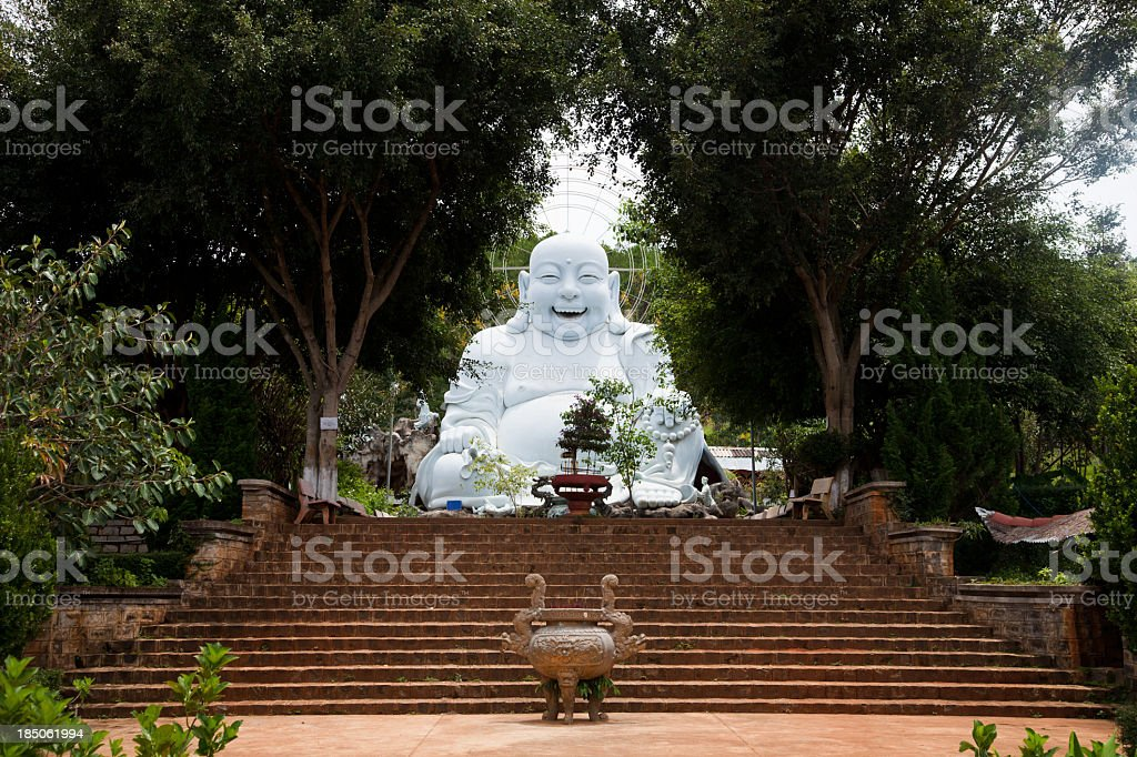 Smiling Buddha at Dalat, Vietnam stock photo