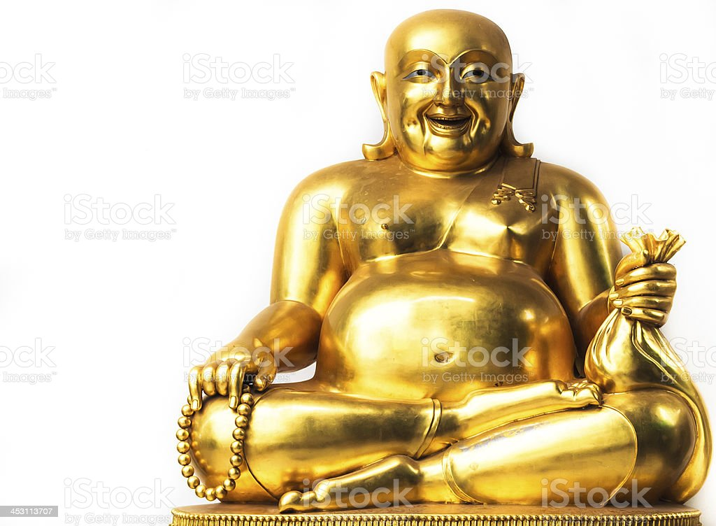 Smiling Buddha, Chinese God of Happiness stock photo