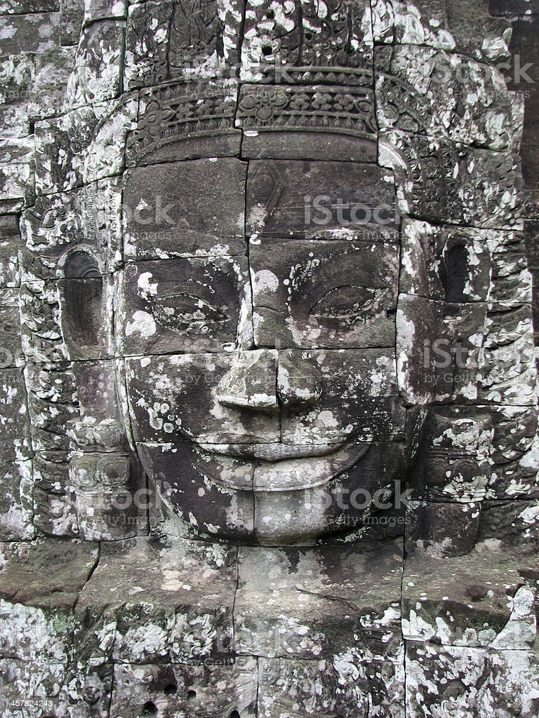 Smiling Buddha face of Bayon temple, Angkor stock photo