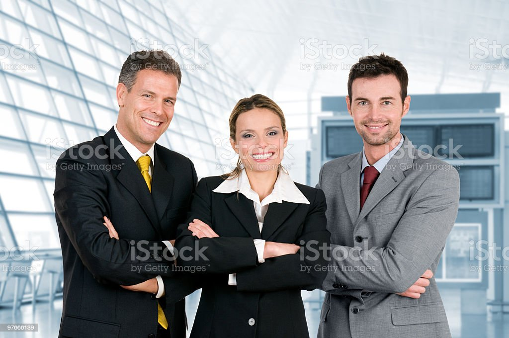Smiling business colleagues in the office stock photo