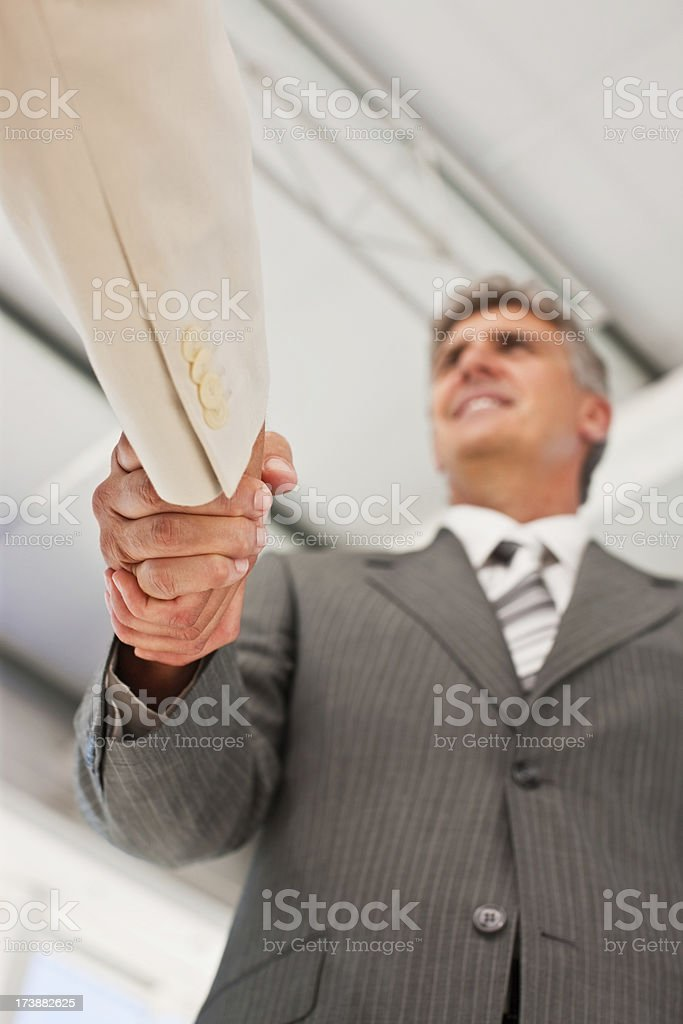 Smiling business colleagues shaking hands royalty-free stock photo