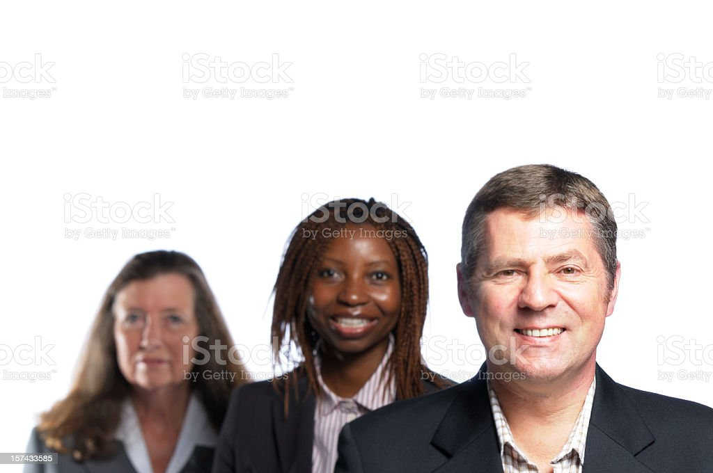 Smiling Business Man and his Team stock photo