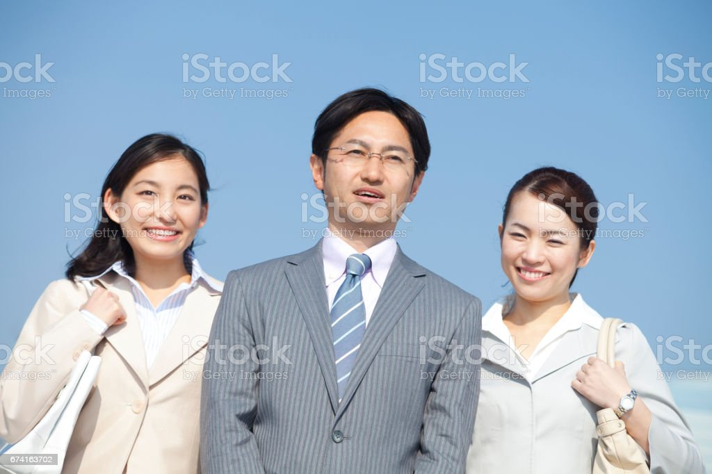 Smiling business man and OL 2 stock photo