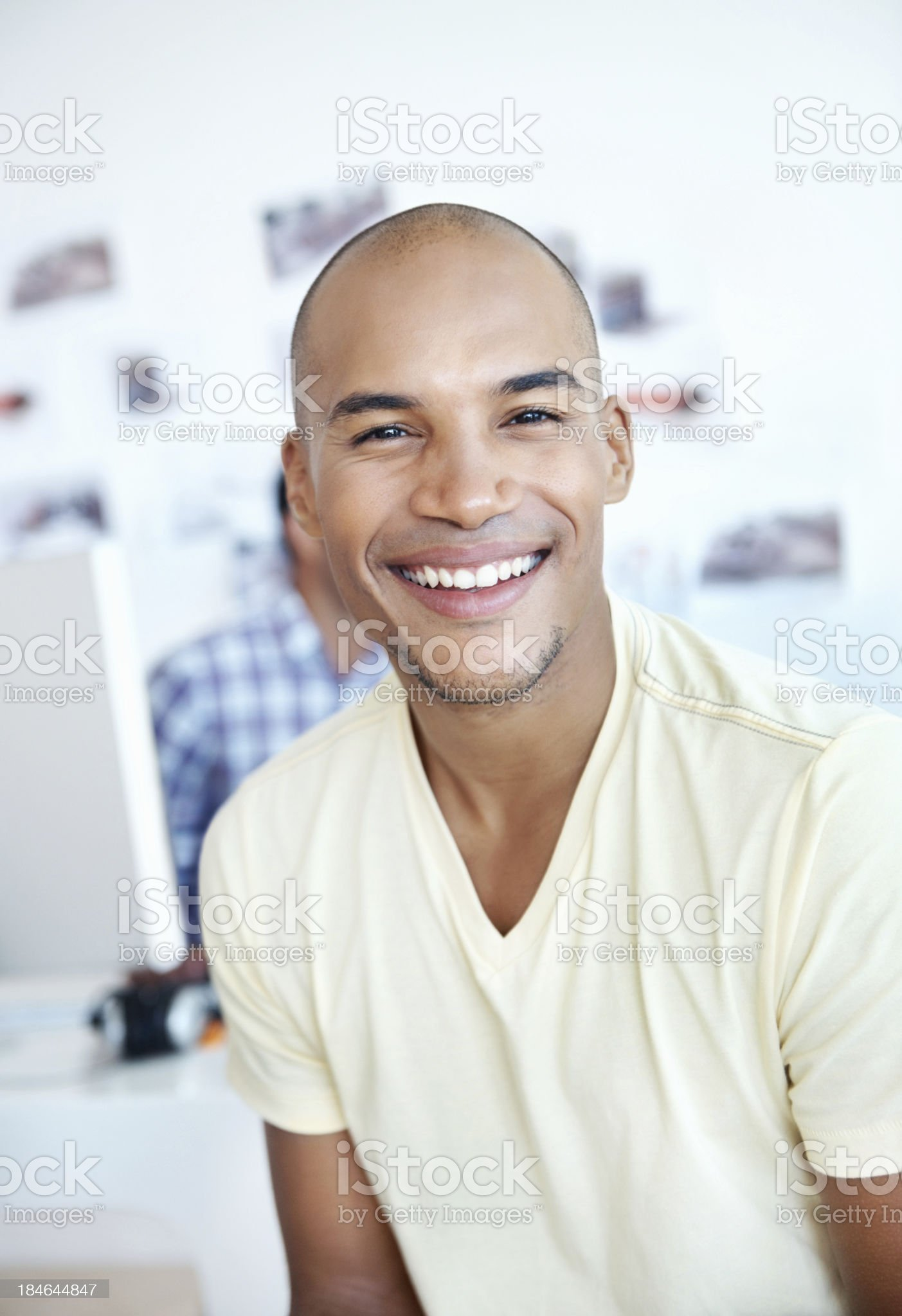 Smiling business man at office royalty-free stock photo