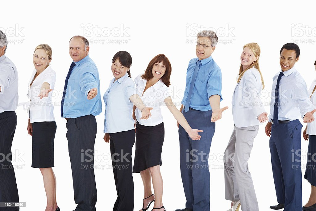 Smiling business people standing in a line royalty-free stock photo