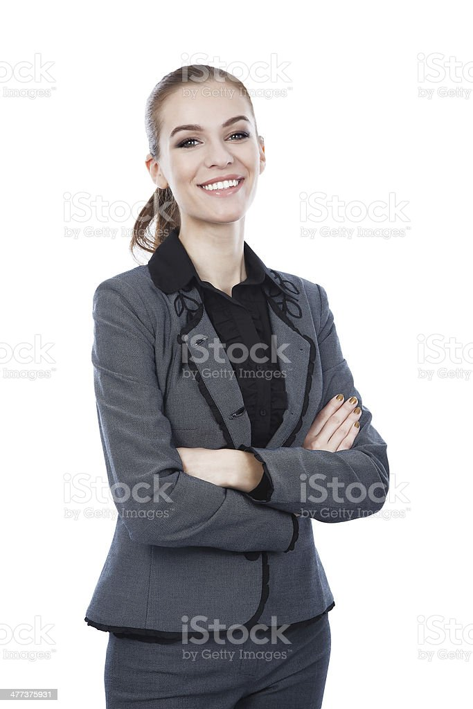 Smiling business woman. Arms crossed. Isolated on white. royalty-free stock photo