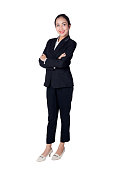 Smiling business woman black suit dressed