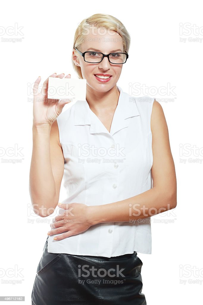 smiling business woman holding card stock photo