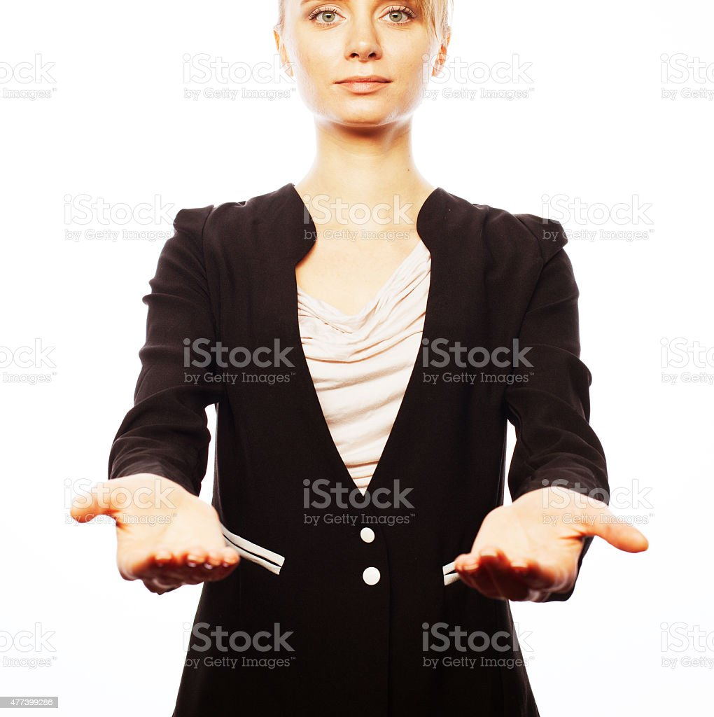 smiling business woman welcoming stock photo