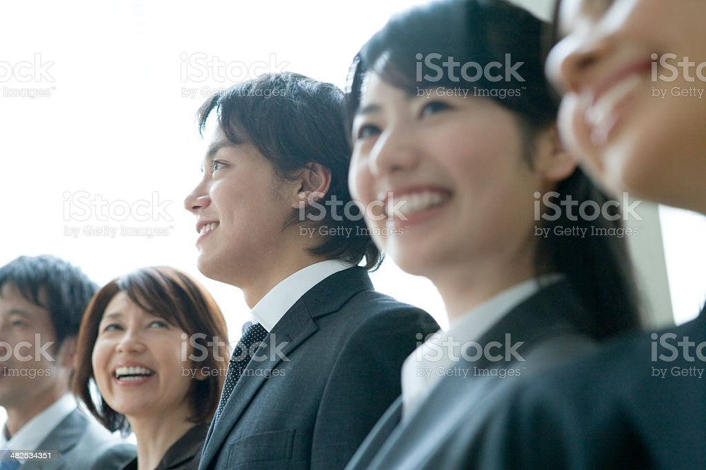 Smiling businessman and business woman stock photo