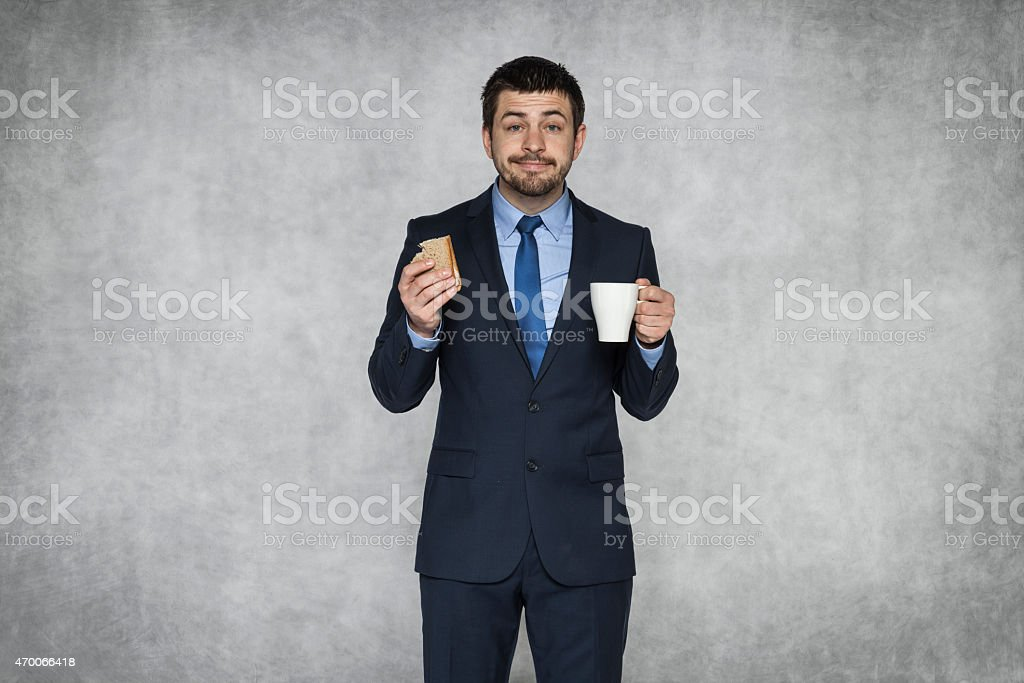 Smiling businessman on lunch stock photo