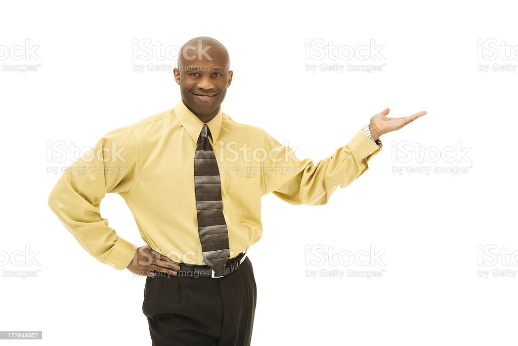 Smiling Businessman Presenting stock photo