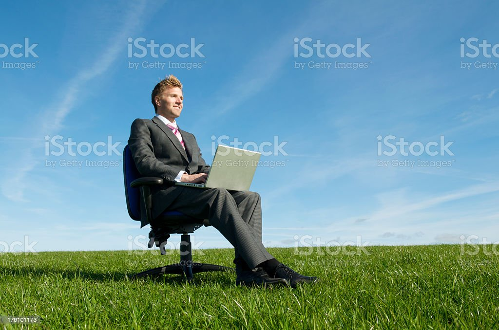 Smiling Businessman Sitting Typing Outdoors in Green Meadow royalty-free stock photo