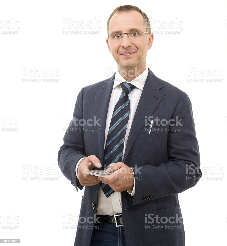smiling businessman with calculator #2 royalty-free stock photo