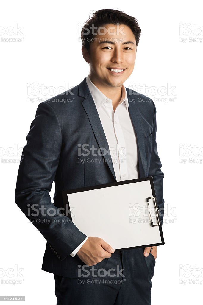 Smiling businessman with document smiling stock photo
