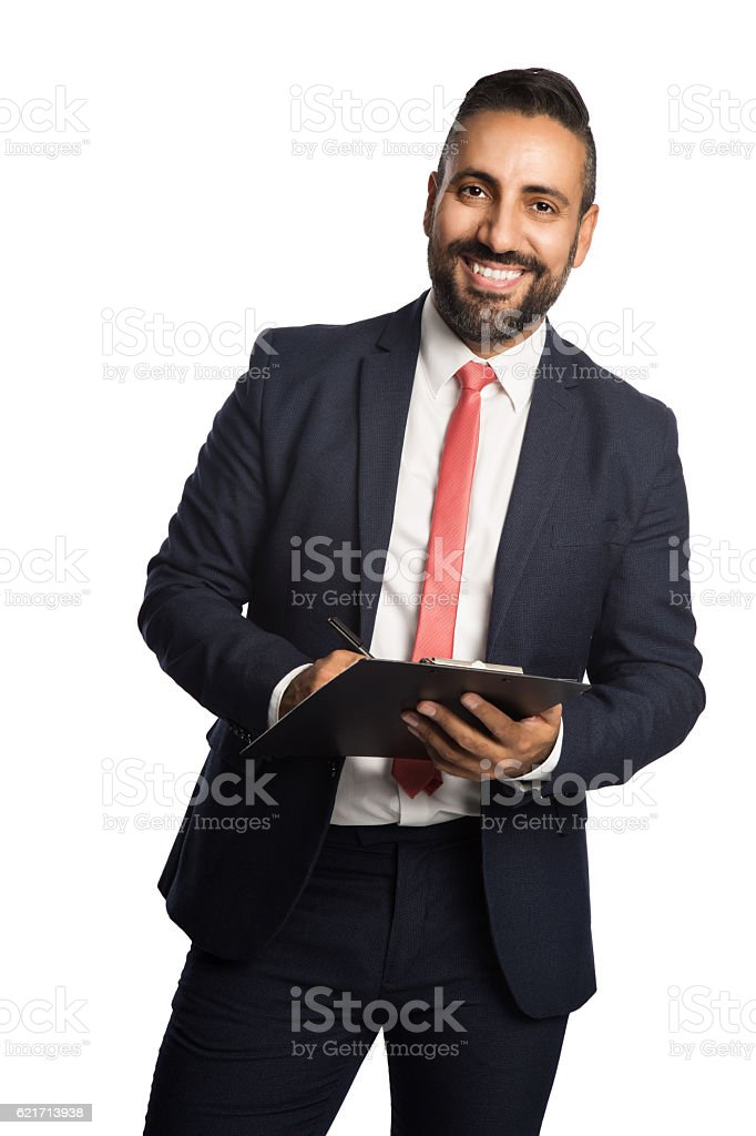 Smiling businessman with folder stock photo