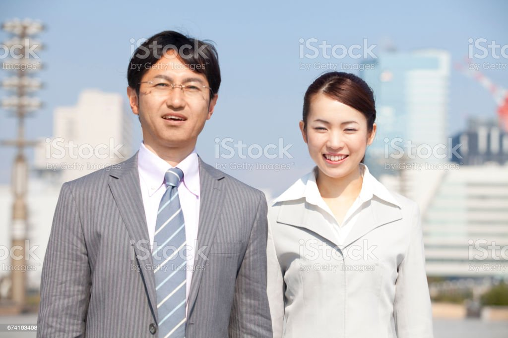 Smiling businessman with OL stock photo