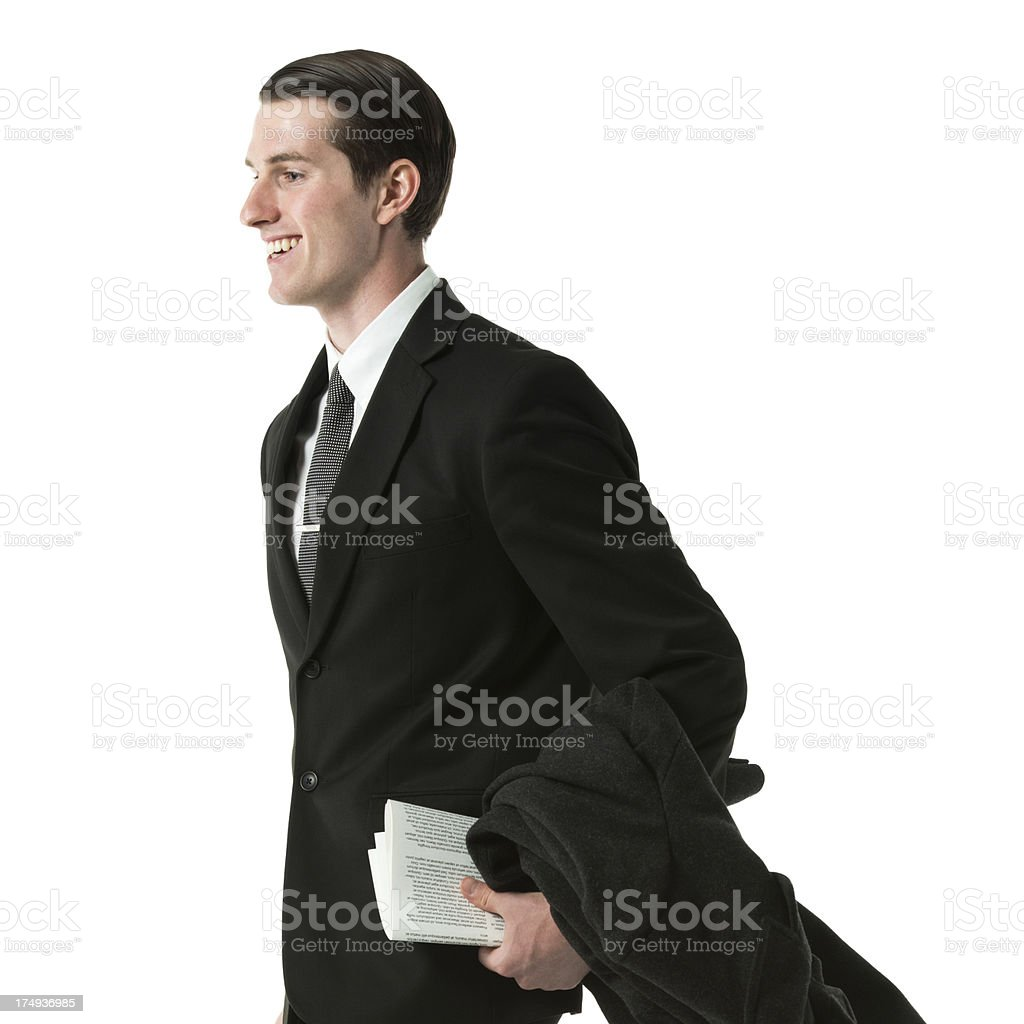 Smiling businessman with papers royalty-free stock photo