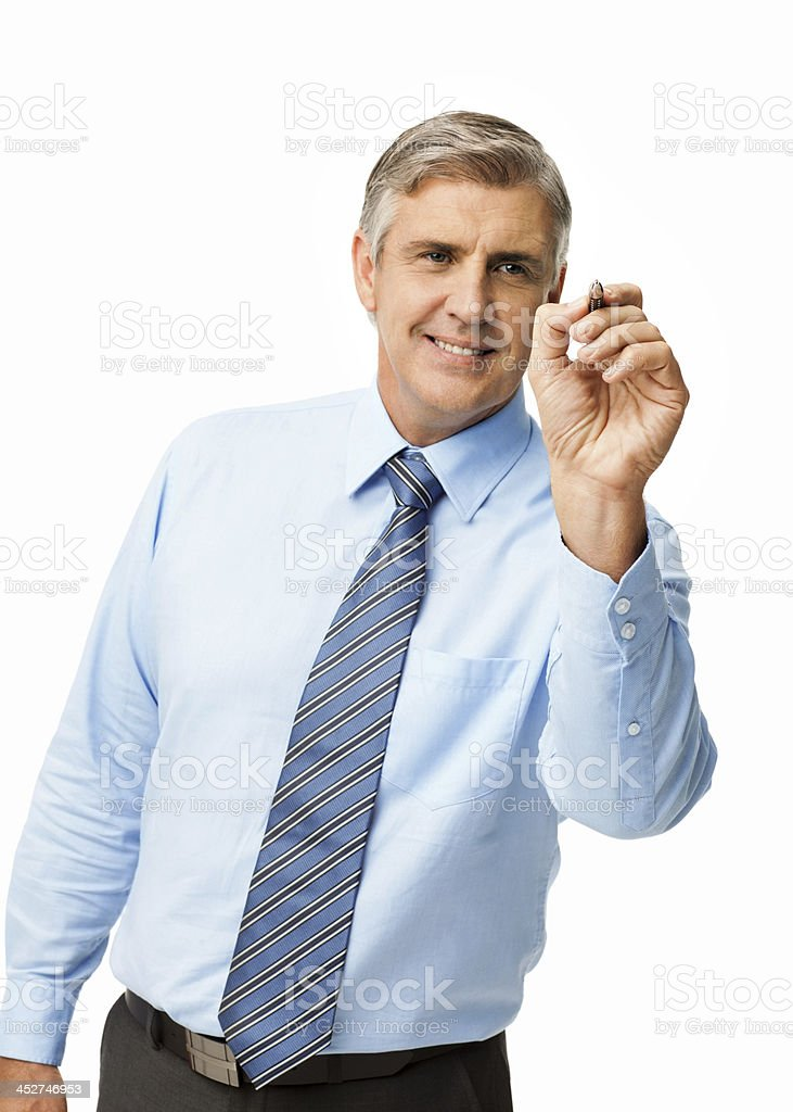 Smiling Businessman Writing On Screen With Pen royalty-free stock photo