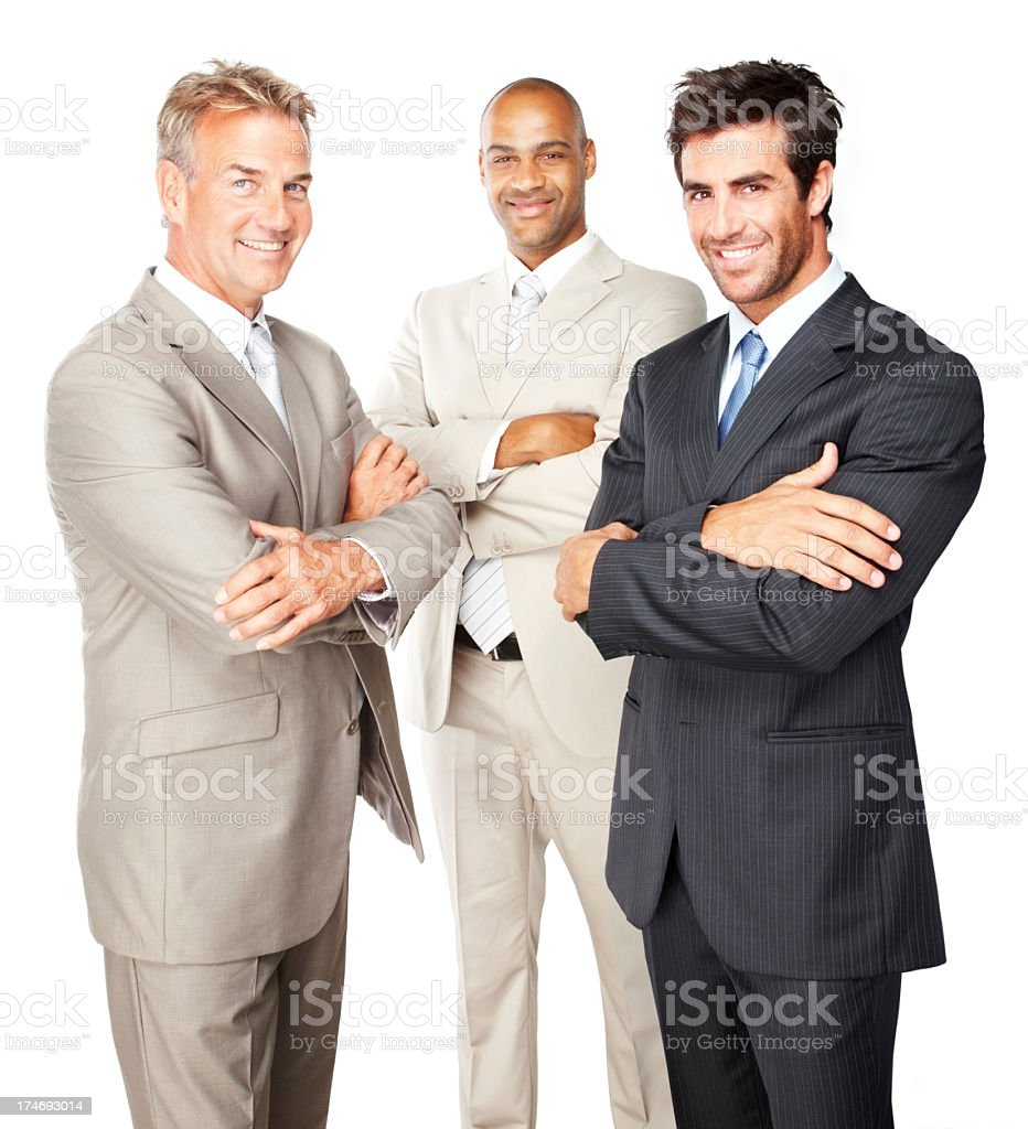 Smiling businessmen standing together royalty-free stock photo