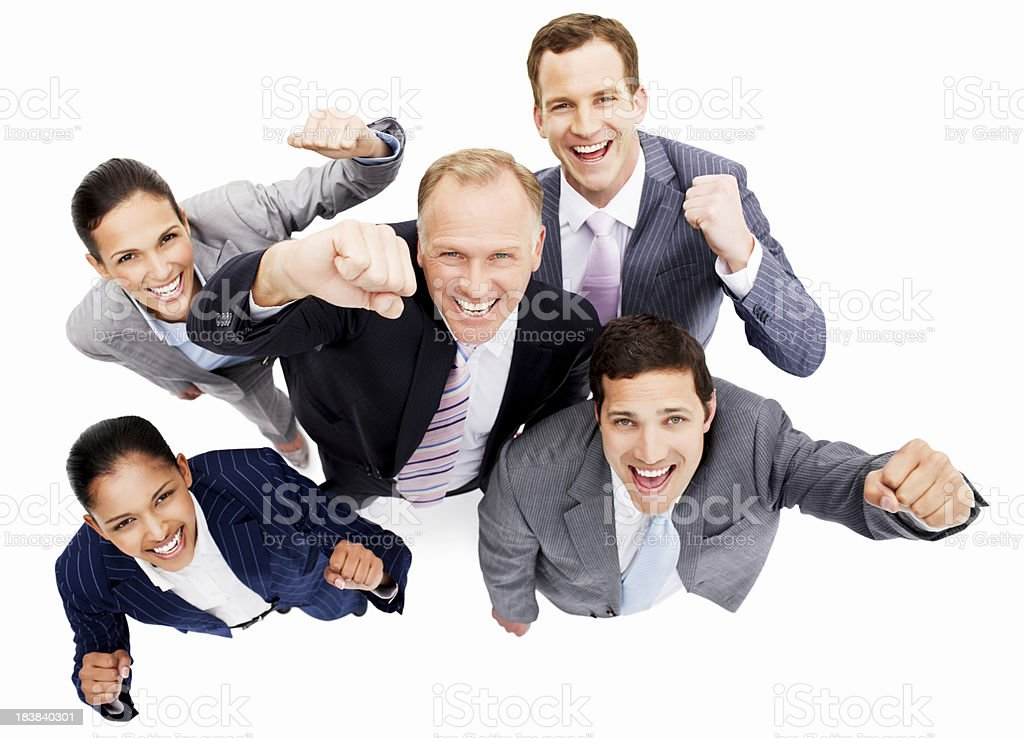 Smiling Businesspeople With Arms Raised - Isolated royalty-free stock photo