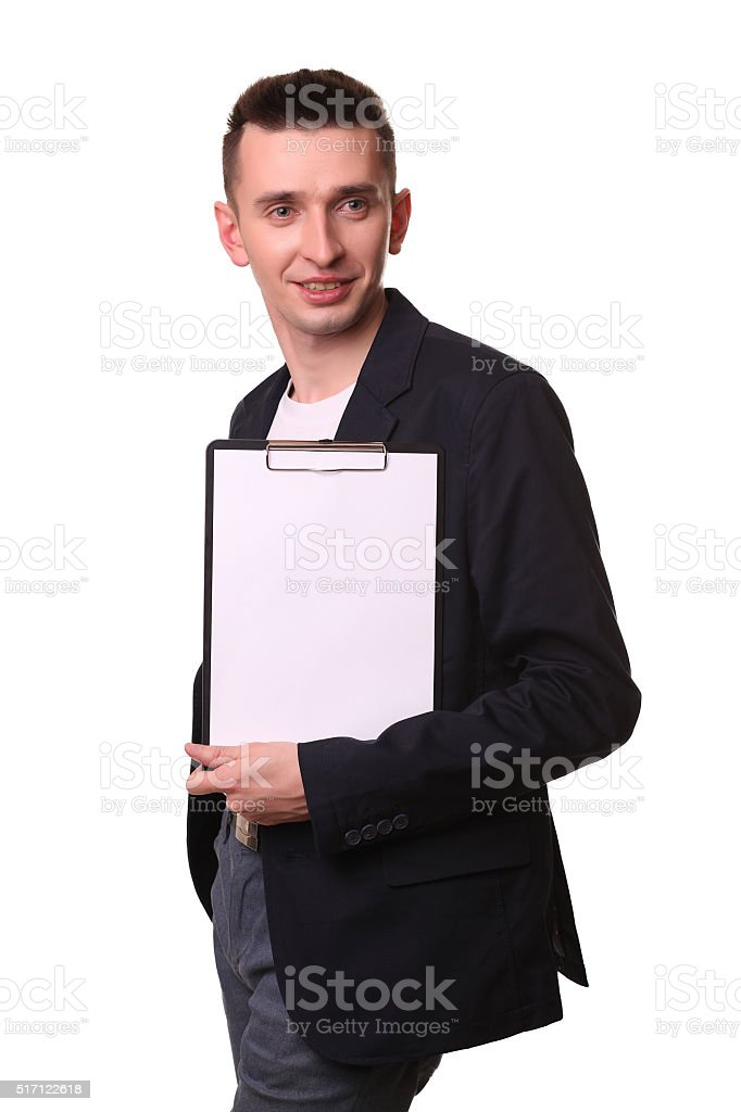 smiling businessperson holding a blank clipboard isolated against white background royalty-free stock photo