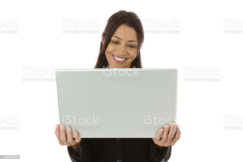 Smiling businesswoman holding laptop royalty-free stock photo