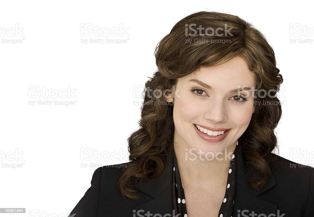 Smiling businesswoman isolated on white royalty-free stock photo