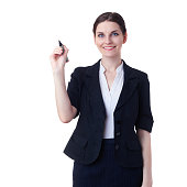 Smiling businesswoman standing over white isolated background