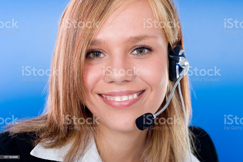 Smiling Businesswoman - Tech Support royalty-free stock photo