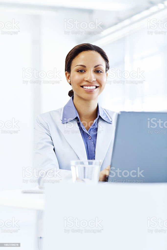 Smiling Businesswoman with Laptop royalty-free stock photo