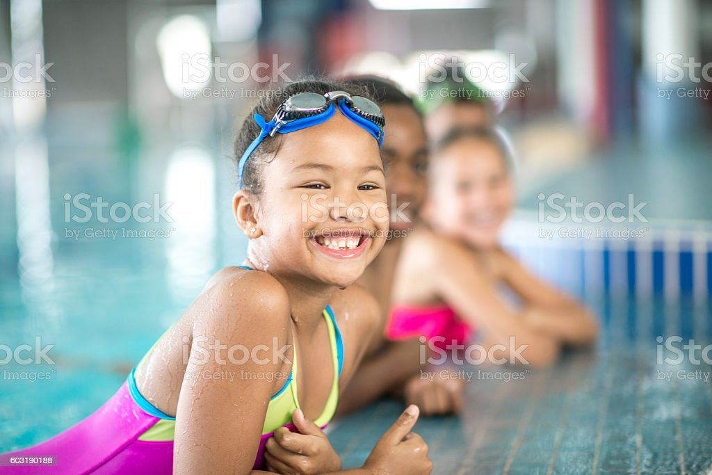 Smiling by the Pool stock photo