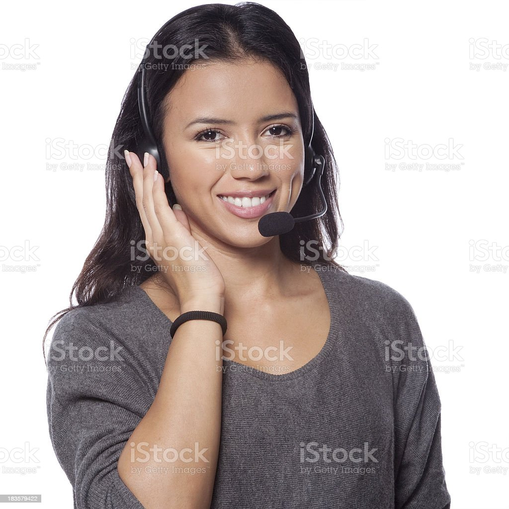 Smiling call center woman with headset royalty-free stock photo